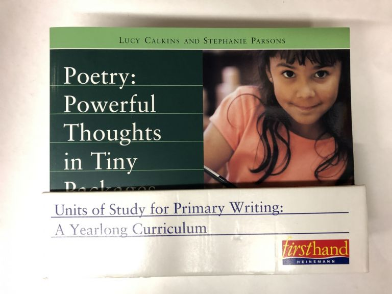 Complete set UNITS OF STUDY FOR PRIMARY WRITING: A YEARLONG CURRICULUM: Conferring Handbook, Nuts and Bolts of Teaching Writing, CD-rom, 7 books: Launching Workshop, Small Moments, Writing for Readers, Revision, Authors as Mentors, Nonfiction, Poetry. Beth Neville, Lucy Calkin.