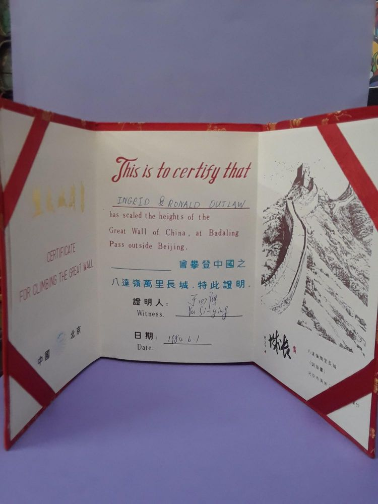 Certificate For Climbing the Great Wall