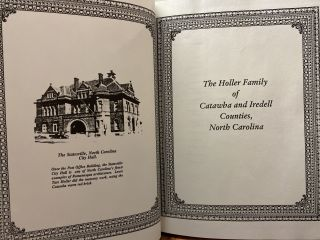 The Holler Family of Catawba and Iredell Counties, North Carolina