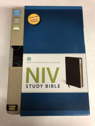 NIV Study Bible, Top-Grain Leather, Black, Red Letter Edition, Thumb Indexed. Zondervan