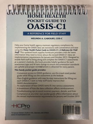 Home Health Pocket Guide to OASIS-C1: A Reference for Field Staff (Spiral-bound)