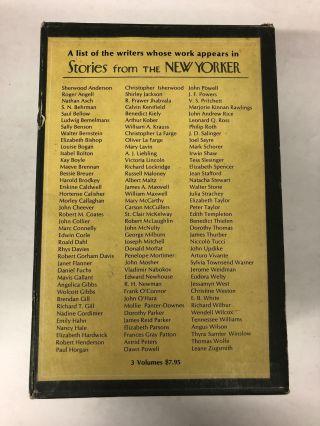 Stories From The New Yorker Three-volume Collection Box Set: 68 Stories that appeared in the magazine during its first 15 years (1925 to 1940); 25th anniversary volume with 55 short stories (1940 to 1950); 35th anniversary volume (1950-1960)