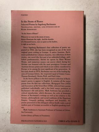 In the Storm of Roses: Selected Poems by Ingeborg Bachmann (Lockert Library of Poetry in Translation)