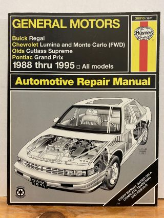 General Motors Buick Regal, Chevrolet Lumina and Monte Carlo (Fwd), Olds Cutless Supreme, Pontiac...