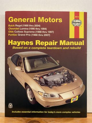 GM: FWD models of Buick Regal (88-04), Chevrolet Lumina (1990-1994), Olds Cutlass Supreme...