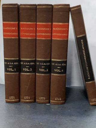 Commentaries on the Laws of England (5 volume set). Sir William Blackstone