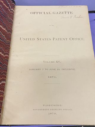 Official Gazette of the United States Patent Office (Volume XV)