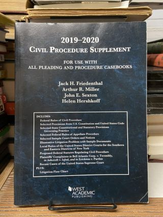 2019-2020 Civil Procedure Supplement, For Use with All Pleading and Procedure Casebooks. Jack H....